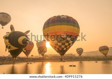 International competition balloons Thailand - stock photo
