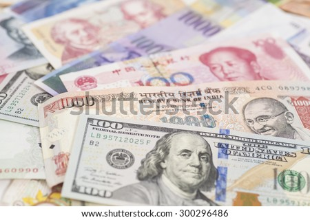 International currencies banknotes - stock photo