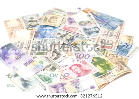 International currencies banknotes isolated on white