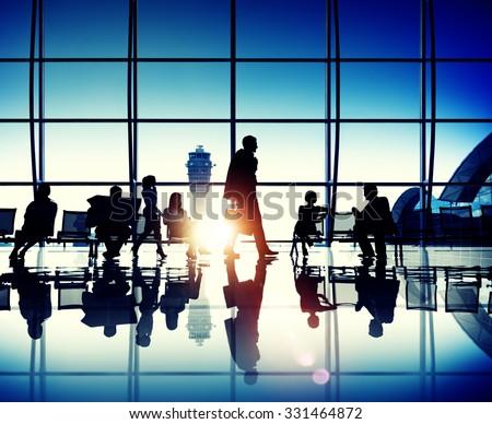 International Departures Terminal Passenger Waiting Concept - stock photo