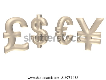 International economy currency units: pound, euro, dollar, yen