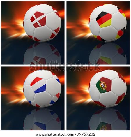 International flag on 3d football for Euro 2012 Group B - stock photo