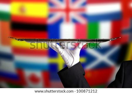 International flag service - stock photo