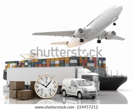 International goods transport - 3D Render - stock photo