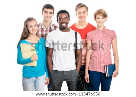 International group of happy young students - stock photo