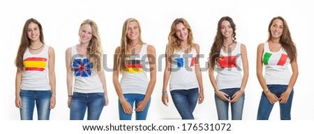 international language school students - stock photo