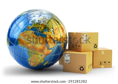 International package delivery concept, global purchases transportation business, stack of cardboard boxes and Earth globe isolated on white background (Elements of this image furnished by NASA) - stock photo