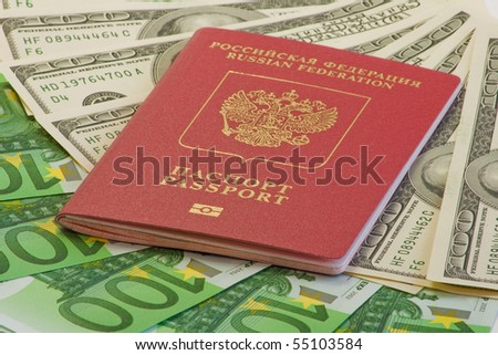 International passport on dollar and euro