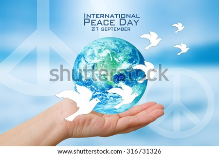 International Peace Day poster.Elements of this image furnished by NASA - stock photo