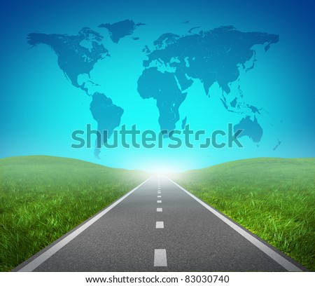 International road highway and global map with green grass and asphalt street representing the concept of an international journey and destination for success in trade and political direction. - stock photo