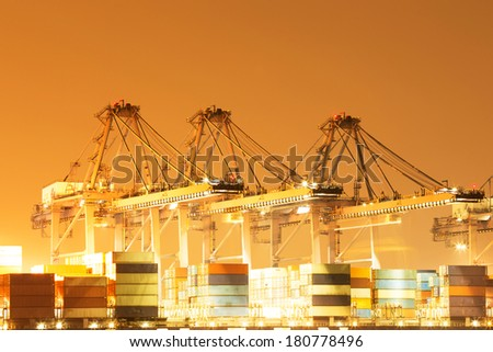 International shipping port - stock photo