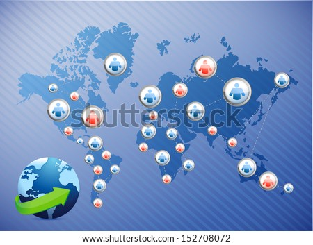 international social media network. illustration design over a world map