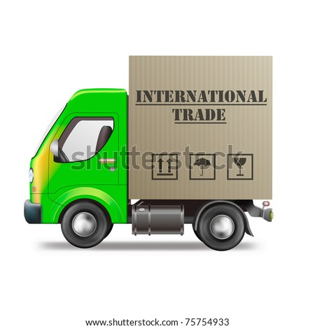 international trade delivery truck import and export worldwide transportation global economy cardboard box