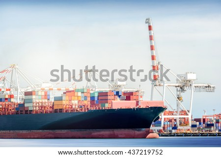 International Transportation Shipping, Container Cargo freight ship with ports crane bridge in harbor, Logistic Import Export background concept.