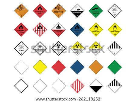International Warning Diamond Symbols - stock photo