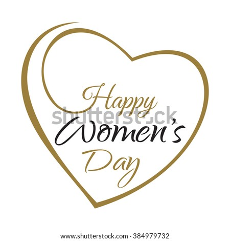 International Womens Day. Happy Women's Day. Womens holiday. March 8. Holiday card. Lettering on the background framework of hearts. Greeting inscription with the International Women's Day - stock photo