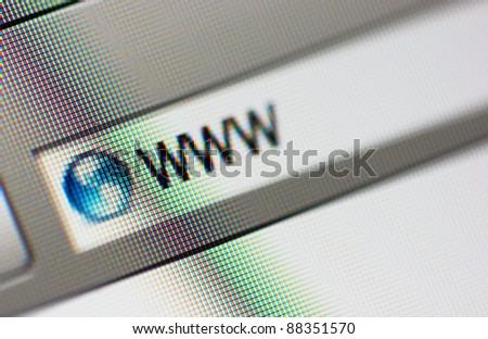 Internet address, computer screen. Close up. - stock photo