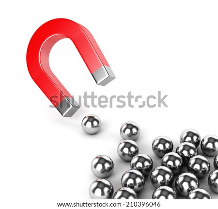 Internet advertisement technology, search engine optimization and business concept. Horseshoe magnet capturing group metal spheres isolated on white background.