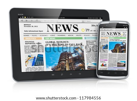 Internet and business office communication concept: tablet PC computer and touchscreen smartphone with business web news media isolated on white background with reflection effect - stock photo