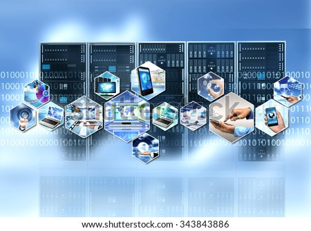 Internet and information technology with cloud server computing process - stock photo