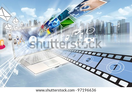 Internet and multimedia sharing concept. Illustrated  with movies, song, people, images, picture and application flying in high speed movement from a laptop screen - stock photo