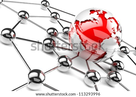 internet and networking concept. Red globe world map. - stock photo