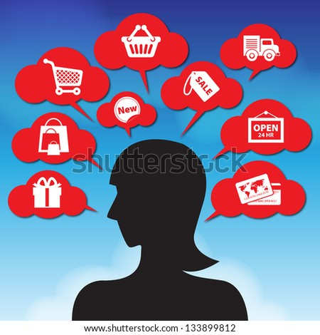 Internet and Online Shopping Concept Girl 01 With E-Commerce Icon on Blue Sky Background - stock photo