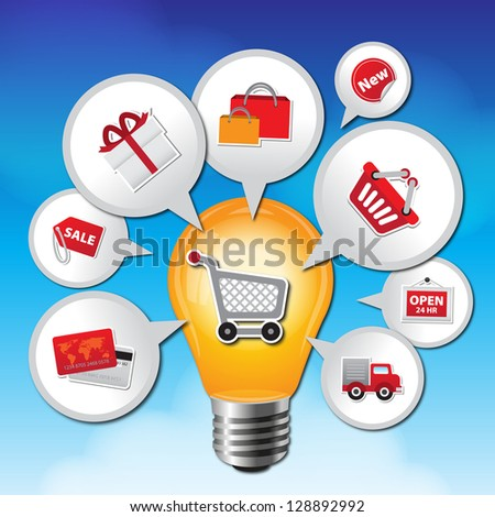 Internet and Online Shopping Concept 01 With Lightbulb and E-Commerce Icon on Blue Sky Background - stock photo