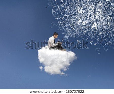 Internet and social network concept with businessman on a cloud - stock photo