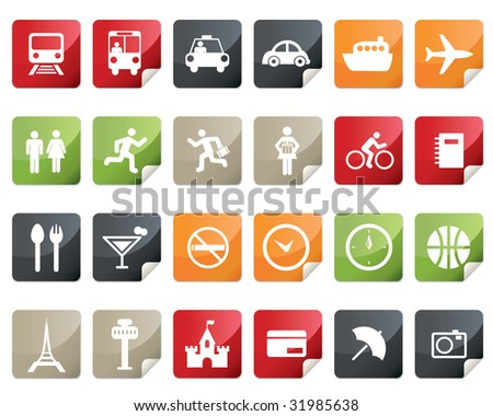 Internet and Travel Icon Set. Tag and Label Style - stock photo