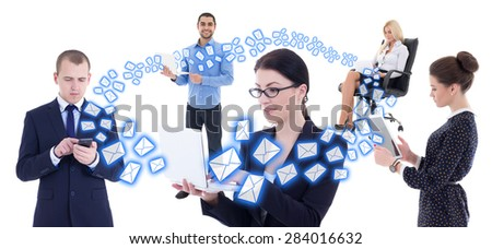 internet business concept - young business people with mobile phones and computers isolated on white background - stock photo