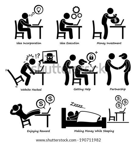 Internet Business Online Process Stick Figure Pictogram Icon Cliparts - stock photo
