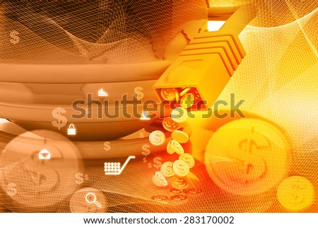 Internet cables with dollar coins , make money online  - stock photo