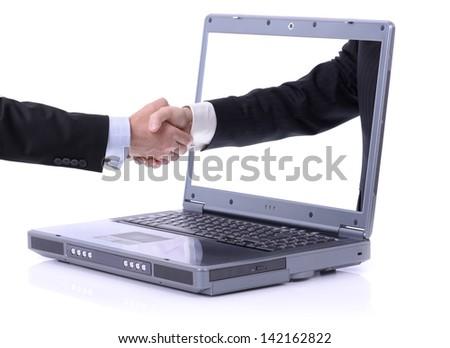 Internet communication wifi handshake isolated on white - stock photo