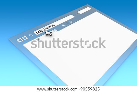 Internet Concept. Perspective view of Browser Window. Transparent with blue faded background, copy space. - stock photo