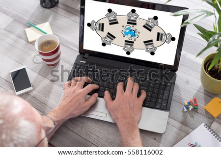 Internet concept shown on a laptop used by a man