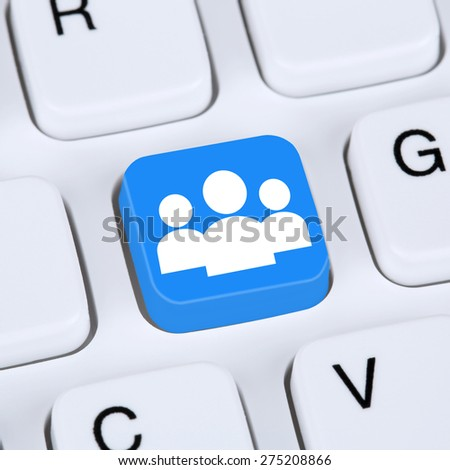 Internet concept social media or network online friendship on computer keyboard - stock photo