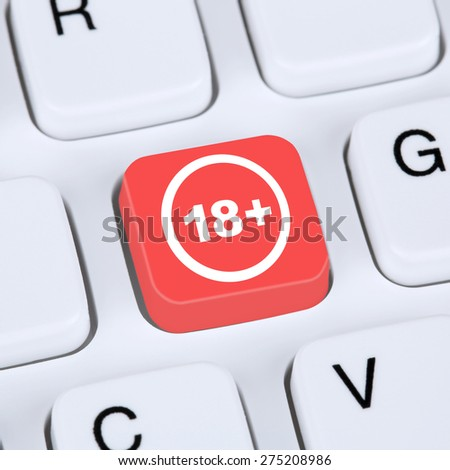 Internet concept warning symbol on computer from 18 years security for children - stock photo