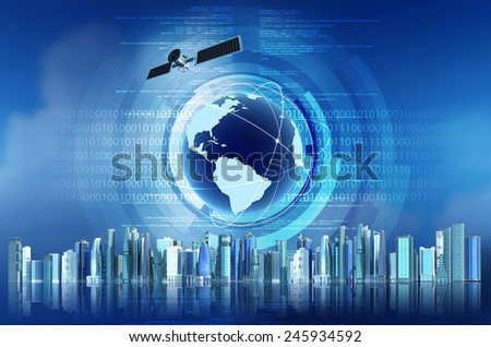 Internet concept with satellite, globe and futuristic city as background
