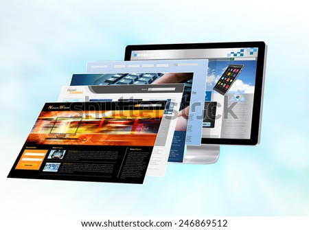 Internet concept with websites pages in front of monitor screen - stock photo