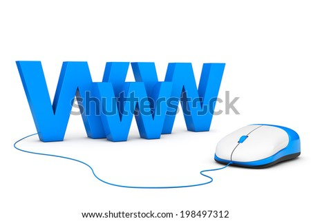 Internet Concept. WWW sign connected to computer mouse on a white background