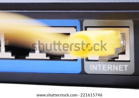 Internet connection socket. Shallow DOF. Isolated on white background. - stock photo