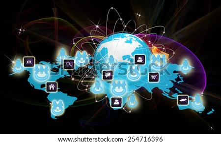 Internet connection world technologies.Social networking - stock photo