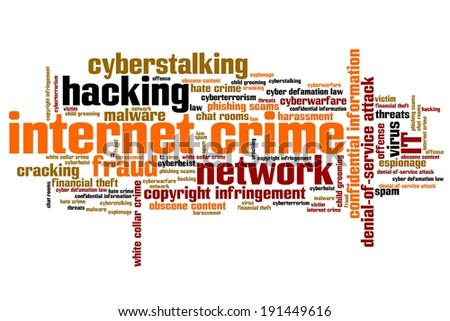 Internet crime (hacking, stalking and malware) issues and concepts word cloud illustration. Word collage concept. - stock photo