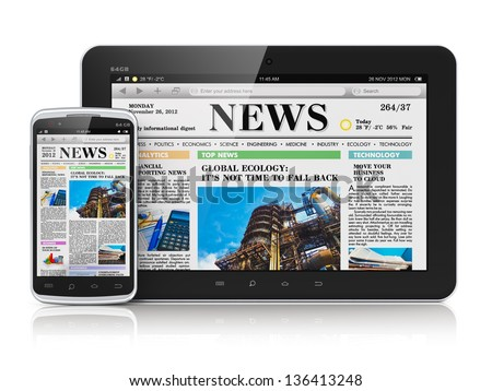 Internet digital web media and business office communication concept: tablet PC computer and touchscreen smartphone with business web news media isolated on white background with reflection effect
