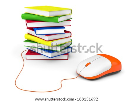 Internet education. Books and computer mouse on a white background - stock photo