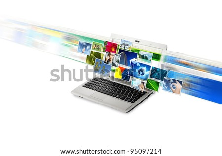 Internet for online  image / picture sharing in high speed internet connection. Isolated in white. - stock photo