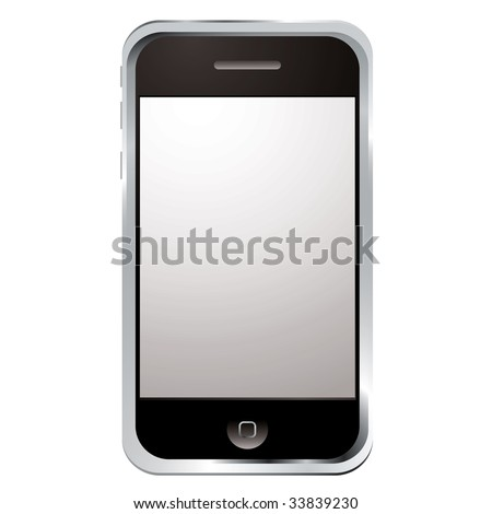internet gadget phone with large screen and single button - stock photo