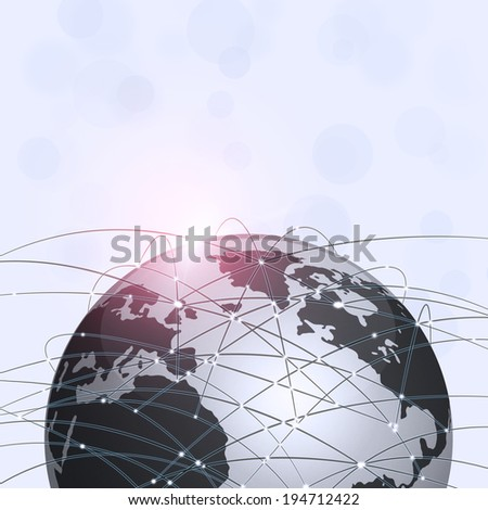 internet global connections concept black and white background