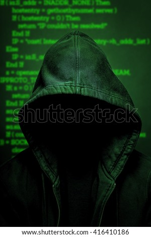 internet hacker with code - stock photo